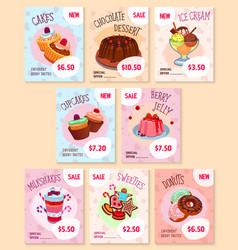 bakery desserts price tags templates set vector image vector image
