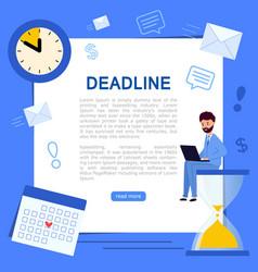 banner business process or deadline man sitting vector image