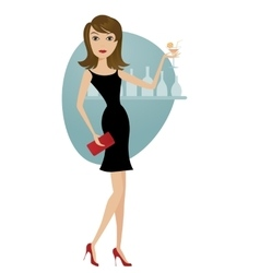 beautiful girl coctail dress vector image