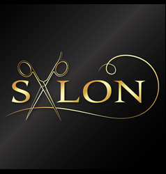 Beauty salon and barber golden scissors symbol vector