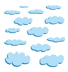 Blue clouds isolated on white background - set vector image