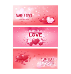 Bright love festive horizontal banners vector