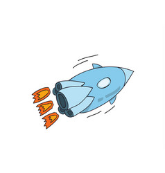 cartoon rocket flies color vector image