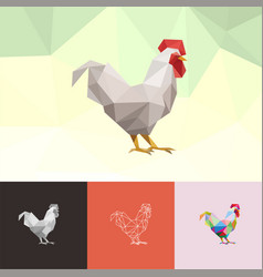 Chicken rooster animal pet low poly logo icon vector