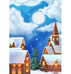 Christmas background Christmas village vector