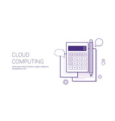 cloud computing technology concept banner with vector image