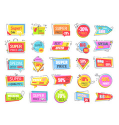 collection of colorful sale coupons and tags vector image