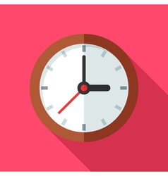 Colorful clock icon in modern flat style with long vector