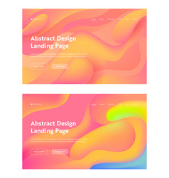 coral abstract wavy landing page background set vector image