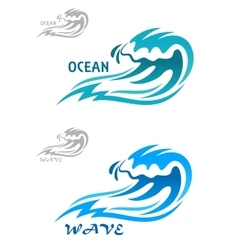 Cresting curling blue ocean wave vector