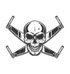 Crossed two handed saws and skull vector