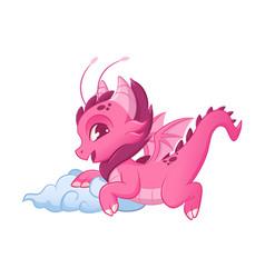 cute pink little dragon adorable mythological vector image