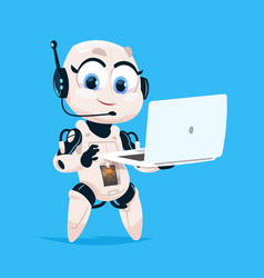 Cute robot hold laptop computer chat bot robotic vector