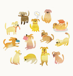 cute watercolor yellow dogs vector image