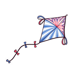 decorated diamond shaped doodle kite with ribbons vector image