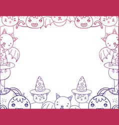 degraded outline cute halloween animals decoration vector image