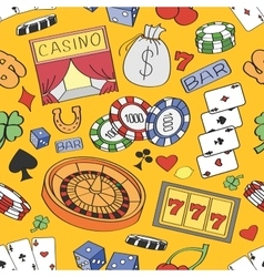 Doodle pattern casino vector image