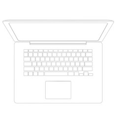 Drawing of wire-frame open laptop top view vector