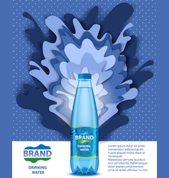 Drinking water ads paper cut vector