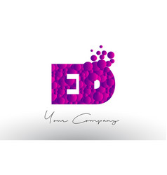 Ed e d dots letter logo with purple bubbles vector