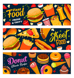 Fastfood street food burgers drinks and donuts vector