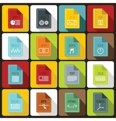 File format icons set in flat style vector