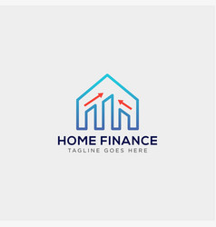 Financial home logo template with business card vector