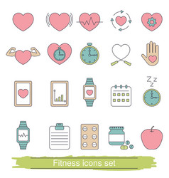 Fitness icons set fitness icons set vector
