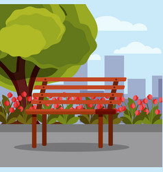 flat with wooden bench green vector image