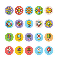 Flowers and Floral Colored Icons 5 vector