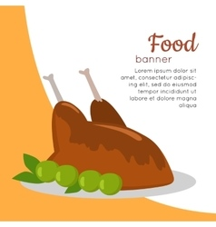 Food Banner Grilled Delicious Chicken Junk Food vector