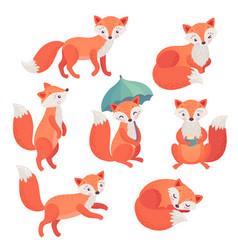 fox set hand drawn style cute vector image