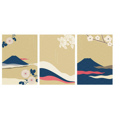 Fuji mountain with flower in japanese style vector
