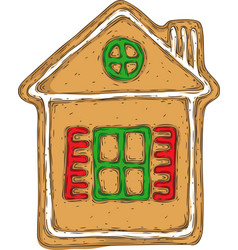 gingerbread house isolated on a white vector image