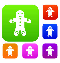 gingerbread man set collection vector image