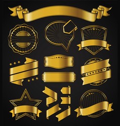 golden labels and ribbons vector image