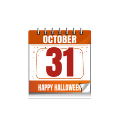 halloween wall calendar holiday date 31 october vector image
