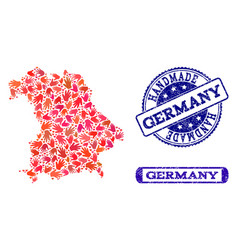 handmade collage of map of germany and scratched vector image