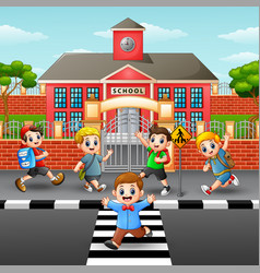 happy children crossing the vector image