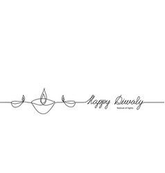 happy diwali minimal black and white banner or vector image