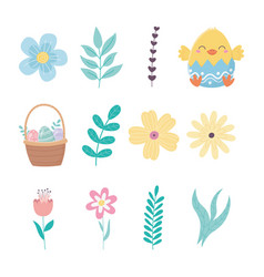 happy easter day chicken eggshell flowers basket vector image