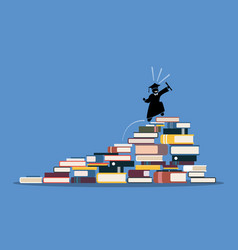 happy graduating student climbing to top of vector image