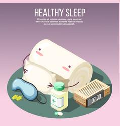Healthy sleep isometric composition vector