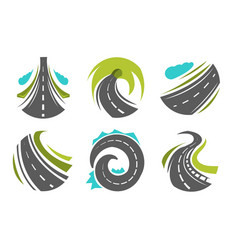 Highway and roads roadway or route isolated icons vector