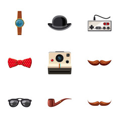 hipster stickers icons set cartoon style vector image