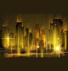 illuminated night city skyline vector image