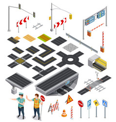 isometric elements road sections vector image