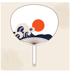Japanese fan sunset wave painting background vector