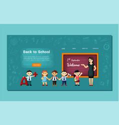 Joyful kids back to school landing page cheerful vector