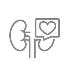 Kidneys with heart in speech bubble line icon vector